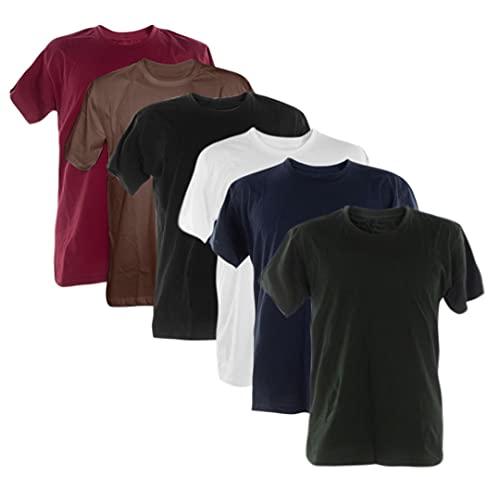 Kit 6 Camisetas 100% Algodão (Vinho, Marrom, Preto, branco, marinho, Musgo, GG)