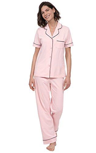 PajamaGram Womens Pajama Set Soft - Short Sleeve PJs for Women, Pink, L, 12-14