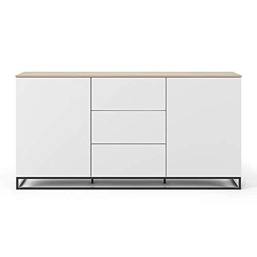 Buffets Design et élégants, Collection Join, signée TEMAHOME. - Join 180H1, piétement Acier Noir, Blanc Mat, Plateau en chêne