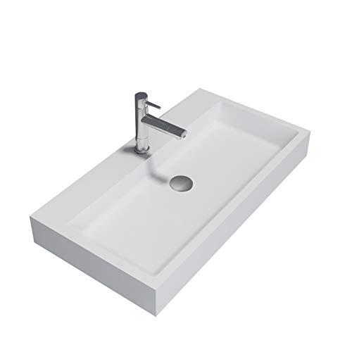 Bernstein Badshop Waschbecken Aufsatzwaschbecken PB2143 Waschbecken aus Solid Stone Mineralguss - Weiß Matt - 80 x 42 x 10 cm