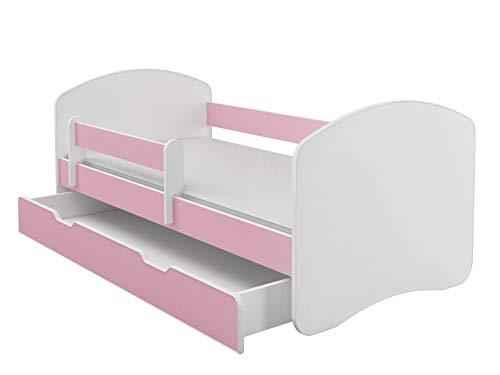 Kinderbett Jugendbett mit einer Schublade und Matratze Weiß ACMA II (160x80 cm + Schublade, Rosa)