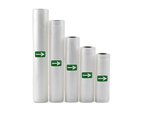 Bolsas de vacío para alimentos, sin BPA, muy fuertes y resistentes, aptas para microondas (3 rollos de 15 cm x 5 m)