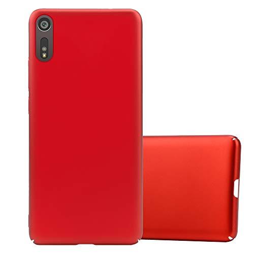 Cadorabo Coque pour Sony Xperia XZ/XZs en Metallic Rouge - Housse Protection Rigide en Plastique Dur avec Anti-Choc et Anti-Rayures - Ultra Slim Fin Hard Case Cover Bumper