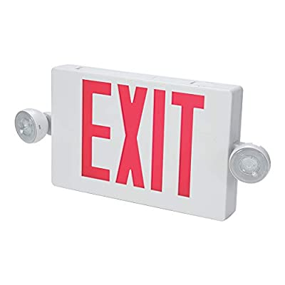 ALL-PRO Emergency APC7R Combo Unit LED-Exit Sign with Dual Lights, Red Letters