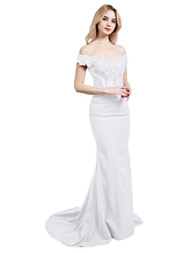 Plus Size Off The Shoulder Long Mermaid Beach Wedding Dress Lace Satin Bridal Gown White 24W