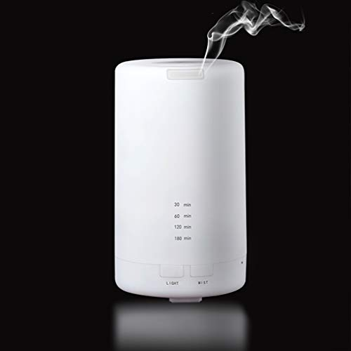 100ml USB Essential Oil Aromatherapy Diffuser Portable Mini White Humidifier Air Refresher Auto-Off Safety Switch 7 LED Light Colors for Home Office Car Vehicle Travel (White)