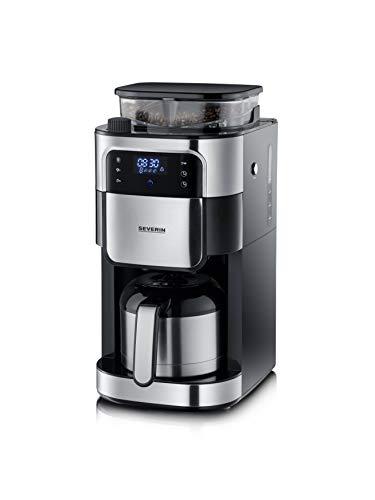 SEVERIN KA 4814 Filterkaffeemaschine mit Edelstahl-Mahlwerk und Thermokanne, feinste Mahlung und individuell auswählbarer Mahlgrad, 1000 W, für bis zu 8 Tassen / ca. 1 Liter