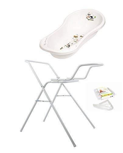 Baby Badewanne XXL 100 cm Funny Farm weiß + Badewannenständer + Ablaufschlauch