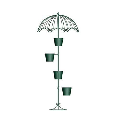 Café décoré Jardinière, Magasin de fleurs Bar Terrasse Cadre décoratif en fer forgé Forme parapluie Cour Décoration Cadre (Color : Green)