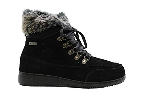 Khombu Womens Francie Leather Closed Toe Ankle Cold Weather Black