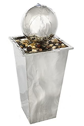 Gartenbrunnen/Zierbrunnen, Säule mit rostfreier Edelstahl-Kugel, inkl. Pumpe & LED Wasserspiel Garten/Balkon/Terasse 34*34*83cm, Durchmesser Kugel 23cm