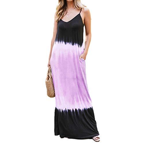 PIGMAMA Farbtonfarbe Ärmelloses Hosenträger Böhmisches Kleid Frauenkleider mit Taschen und charmant realistic