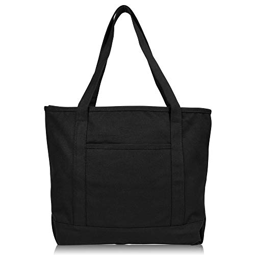 DALIX 20' Solid Color Cotton Canvas Shopping Tote Bag in Black
