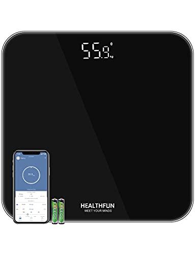 Bilancia Pesapersone BMI con APP, Bilancia Pesapersone HEALTHFUN con Display a LED e Tecnologia step-on, Alta Precisione con Unità KG / LB / ST da Cambiare, Vetro di Sicurezza e Misurazione 5-180 kg