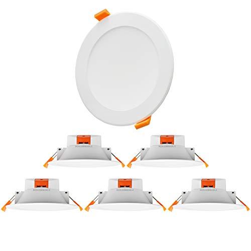 Lampes Spots Plafonnier Encastrable Plafond LED Extra Plat pour Salle de Bain Cuisine IP44 3000K 4000K 5000K Ajustable Haute Luminosité 1100Lm Diamètre du Trou 110-135MM Lot de 6 de Enuotek