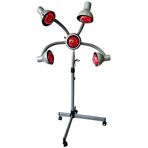 Stående hårtork, 5 huvud infraröd lampa, 750 W röd värmande ljus hårterapi behandling vård möbler salong färgprocessor med flexibla armar