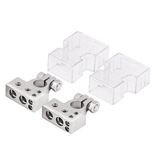 Conector de batería, un par de terminales de batería de automóvil Abrazadera de conector positivo y negativo para calibre 0/1 2 4 8 AWG(Plata)
