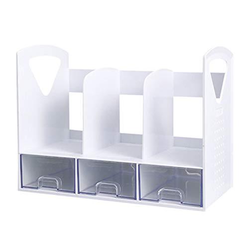 YRC Alta Capacidad Bookshelf Multifuncional Multi-Compartimento Rack con cajones Oficina Estudiante Escritorio de Escritorio Papelería Caja de Almacenamiento Creativo (Color : White)