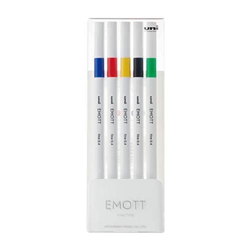 三菱鉛筆 水性ペン EMOTT エモット 5色 No.1 PEMSY5C.NO1