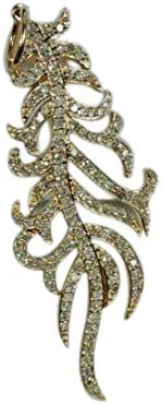 DTJEWELS 2.00 San Jose Mall 4 years warranty Ct Round Diamond and Feather Necklac Pendant Wings