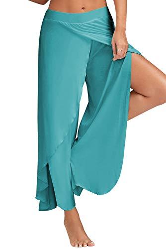Pantalon Yoga Mujer Abierto Retro Chandal Pantalones Largos Vestir Verano Baggy Hip Hop Danza Wide Leg Pants Leggins Deporte Cintura Alta Moda Casual Pantalon Apertura Lateral de Pilates Pijama Playa
