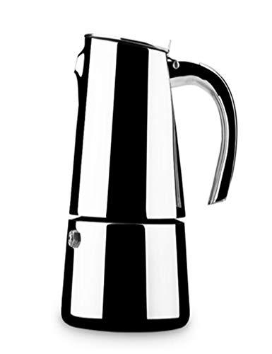 SJQ-coffee pot CafetièRe en Acier Inoxydable/Moka Italienne avec SystèMe de Filtration et PoignéE RéSistant à la Chaleur pour Le Bureau Ou la Maison, 10 Tasses, Argent