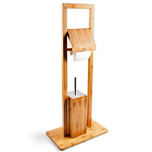 BAKAJI Piantana Porta Scopino e Porta Rotolo Carta Igienica Da Terra In Legno di Bambù Altezza 82 cm Accessori Da Bagno
