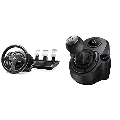 ThrustMaster T300Rs GT,Volante Y 3 Pedales,Ps4 Y Pc,Realsimulator Force Feedback,Motor Brushless + Logitech G Driving Force Palanca De Cambio para Volantes De Carreras G29, G920 Y G923, 6 Velocidades
