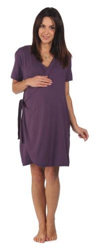 Vestaglia da gravidanza Bamboo - Per gravidanze, parto, allattamento e legame con il bambino, Prugna scura (viola), Pre-gravidanza taglia L larga (IT (IT 44-46)