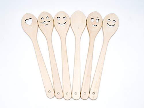 Jowe®, set di 6 cucchiai da cucina in legno di faggio naturale, con motivi tagliati a...