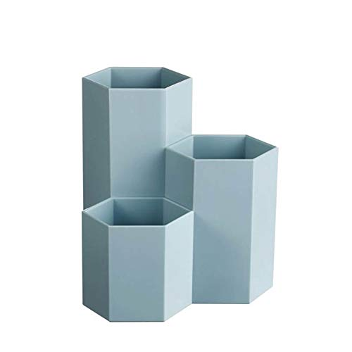 IWILCS Caja de plástico hexagonal para lápices, organizador de escritorio, con marcapáginas para escuela, hogar y oficina, etc.