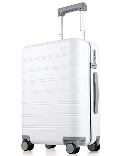 NINETYGO Luggage with Spinner Wheels, 100% PC Hardside Lightweight TSA Compliant Suitcase with Laundry Bag, for Business Trip & Travel (28 Inch White)