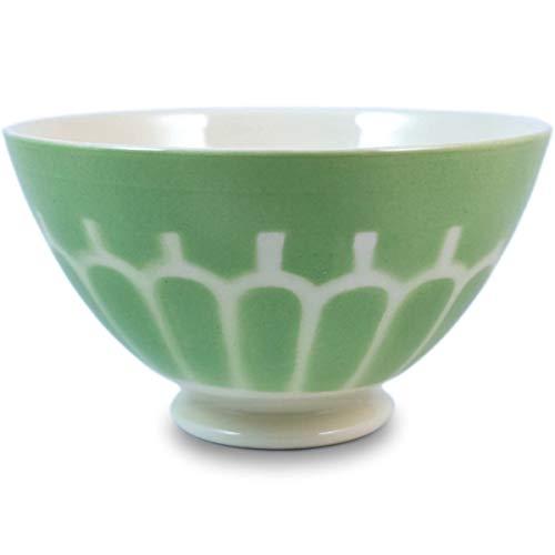 Niderviller Milchkaffee Müsli Schale original Fayence Keramik mit Standfuß groß 50 cl Arkaden grün