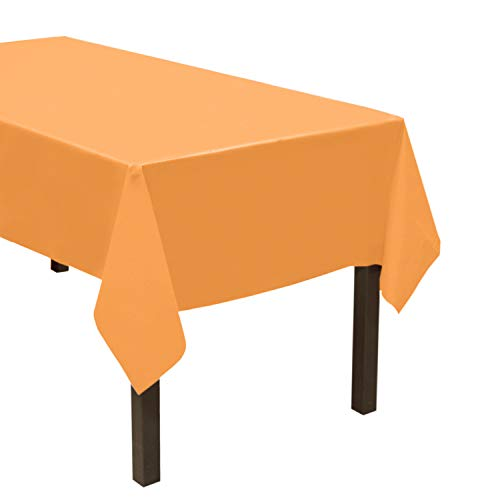 "Party Essentials Heavy Duty Plastic Table Cover Available in 44 Colors, 54"" x 108"", Neon Orange"