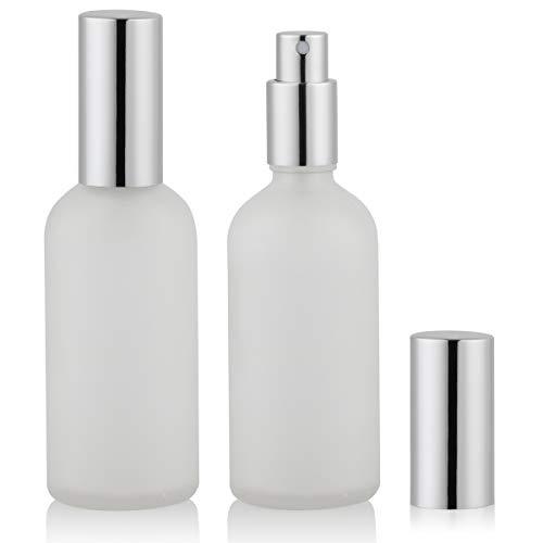 Empty Frosted Glass Spray Bottle 3.4oz, Perfume Atomizer, Fine Mist Spray (2 PACK)