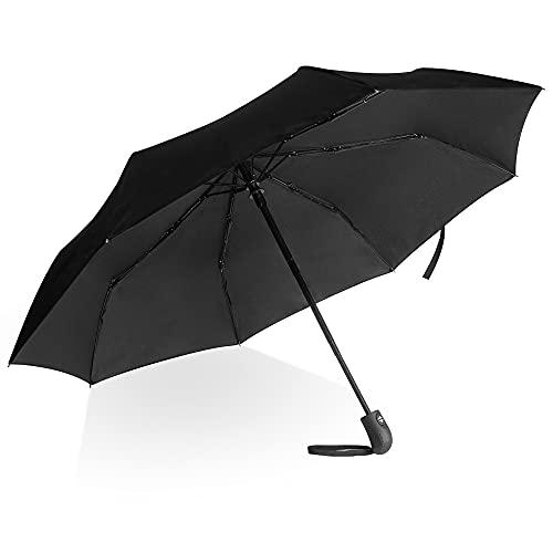 Villkin Regenschirm sturmfest mit Auf-Zu-Automatik - robuster und hochwertiger Regenschirm in schwarz für Damen und Herren - 107cm breiter Taschenregenschirm