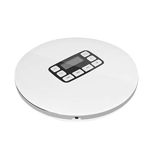 Richer-R Bluetooth CD Player, LCD Display Tragbarer Bluetooth HiFi-Stereo Musikplayer,Portable Stoßfest Stereo CD-Player mit Kopfhörer,Unterstützt MP3/CD-RW /3,5mm AUX EU-Stecker(Weiß)