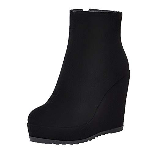 MISSUIT Damen Keilabsatz Plateau Stiefeletten High Heels mit Reißverschluss Ankle Boots Wedges Herbst Winter Schuhe(Schwarz,40)