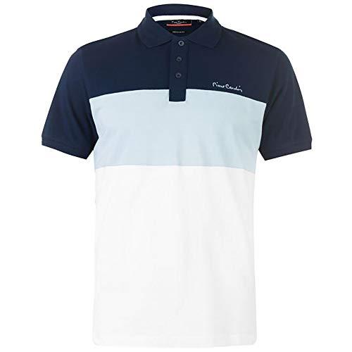 Pierre Cardin New Season Herren 100% Baumwolle Schnitt und Nähen Streifen Panel Tiping Kragen Pique Polo-Shirt mit Unterschrift Stickerei (Small, Navy/Light Blue)