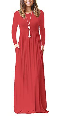 ZIOOER Damen Casual Lose Maxikleider Lange Ärmel Kleider Lange Kleid mit Taschen Rot L