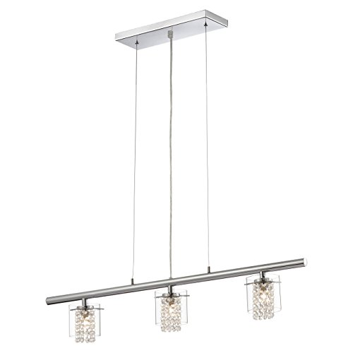 BAZZ LU3823CB Glam Triple Pendant Light, Dimmable, Easy Installation, Adjustable, 62.5-in, Clear Glass