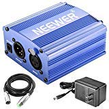 Neewer 1-Channel 48V Phantom Power Supply with Adapter and XLR Audio Cable (Blue)