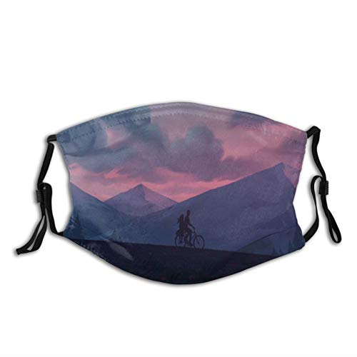 FULIYA Washable Reusable Mouth Cover Fashion Pattern Print Adult Breathable Bandanas with Two Filter,Silhouettes, Bike, Night, Mountains, Art