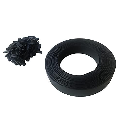 Toilinux.com Lot de 10 Kits lamelles occultantes en PVC avec Clip de Fixation de 50 m pour Grillage rigides - Gris foncé | Brise-Vue et Pare-Soleil pour Jardin