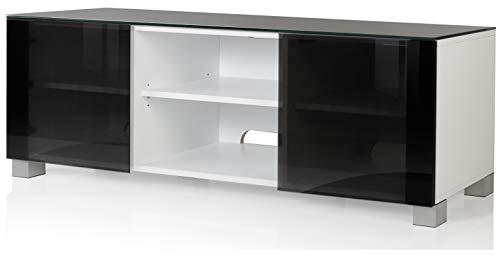 VCM Aufgebautes TV Lowboard Rack Fernsehschrank Tisch Möbel Schrank 2 Glastüren 2 offenen Fächern Weiß 150 cm