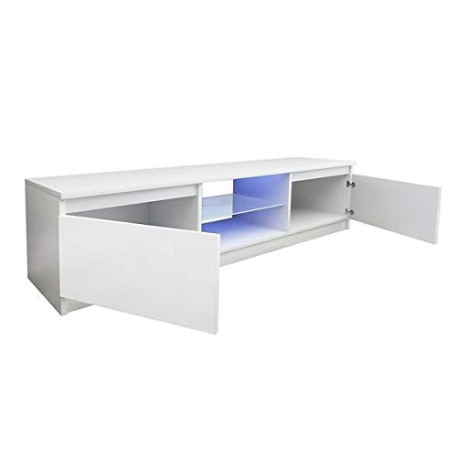 T-ara Suave y Confortable Ancho de 130 cm de Ancho Blanco Moderno TV Stock High Gloss Puerta Lidestersness Unidad diseño de Moda