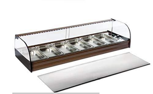 Vitrina expositora barra bar, caliente de BAÑO MARIA Ideal para la exposición de tapas calientes con Cubetas Gastronorm incluidas en la vitrina.