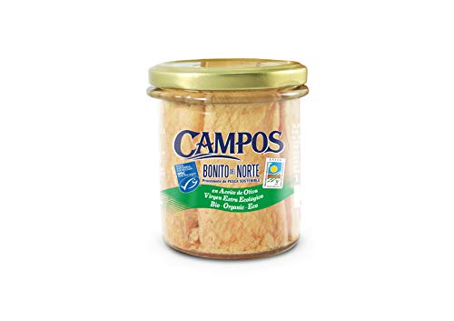 Campos, Conserva de Bonito del Norte de pesca certificada MSC y aceite de oliva virgen extra ecológico - pack de 6 tarros de 160 gr.