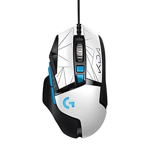 Mouse Gamer Logitech G502 HERO K/DA com RGB LIGHTSYNC, Ajustes de Peso, 11 Botóes Programáveis e Sensor HERO 25K - Edição Oficial League of Legends KDA
