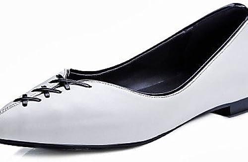 DFGBDFG PDX femme Chaussures en cuir de vache bateau de talon Plat Confort Bout Pointu apparteHommests extérieur fête & Soirée décontracté Beige